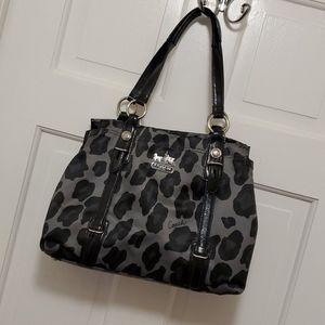 Coach leopard print satin/leather shoulder bag